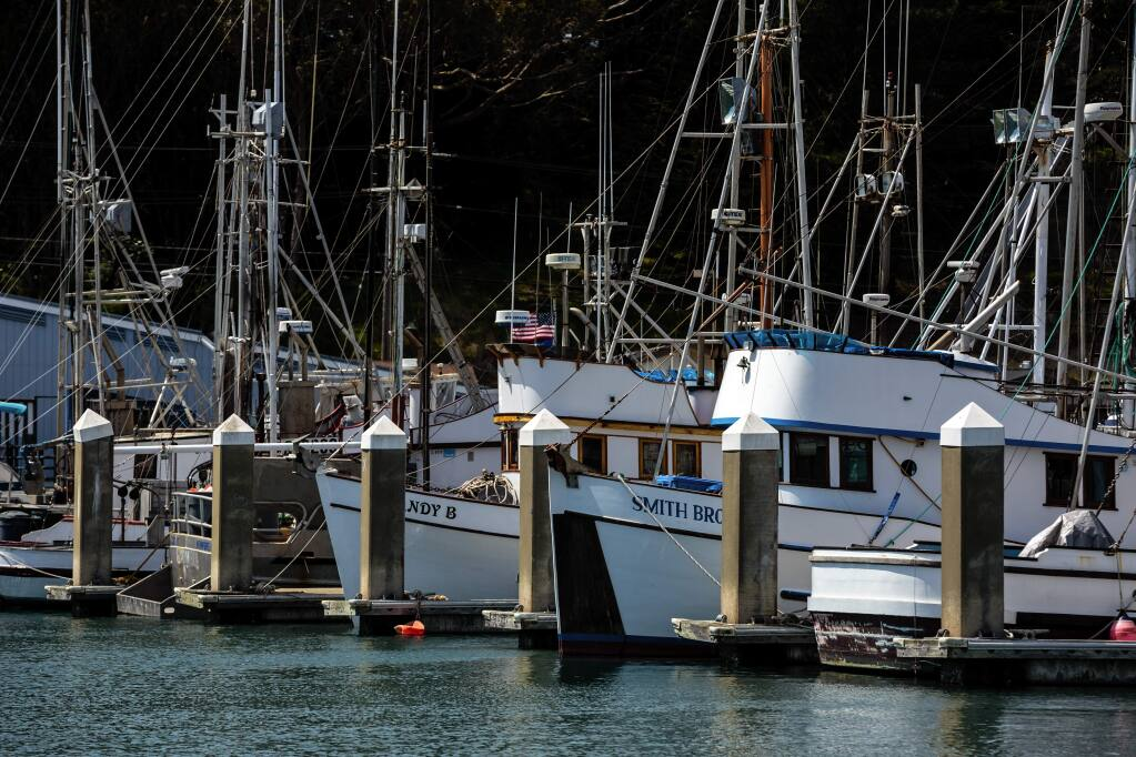 Fishing boats waiting for the salmon season to start in 2014. (The Press Democrat)