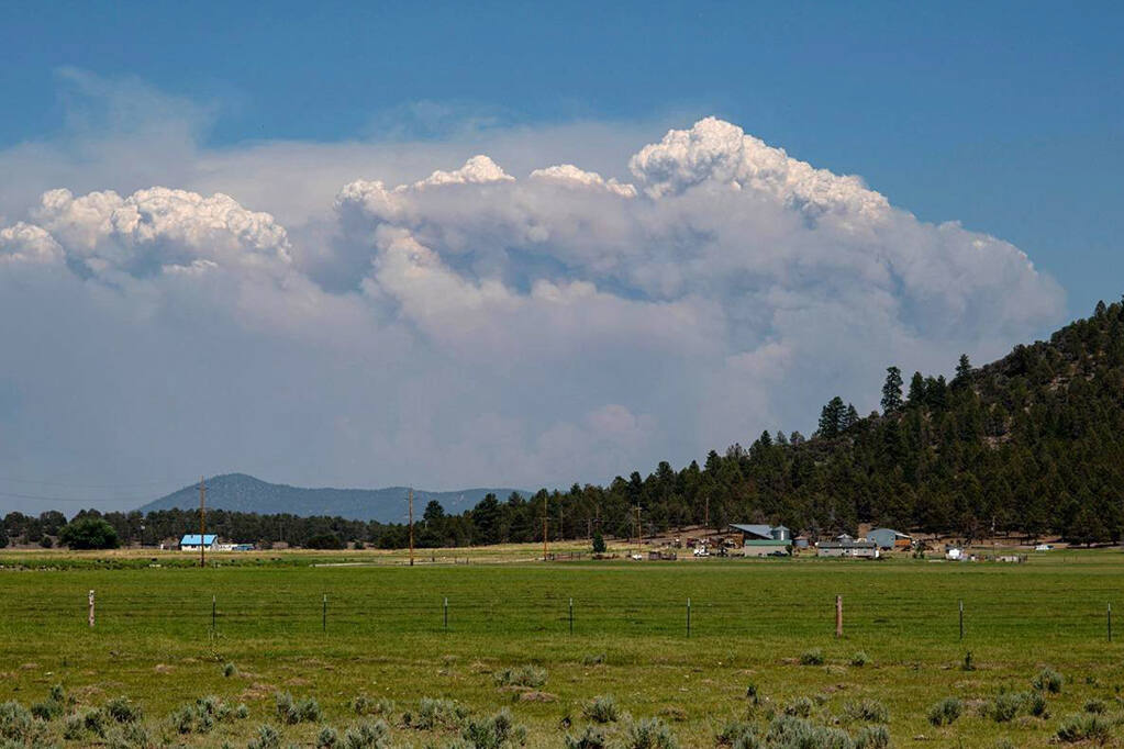 In this photo provided by the Bootleg Fire Incident Command, columns of smoke rise from the Bootleg fire in southern Oregon on Sunday, July 18, 2021. (Bootleg Fire Incident Command via AP)