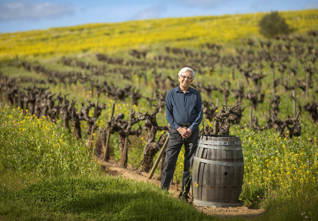 Pat Roney, the CEO of Vintage Wine Estates stands in the B.R. Cohn vineyard in the Sonoma Valley on Friday, March 5, 2021. The brand owns 31 wineries including the Kunde Family Winery, Sonoma Coast Vineyards,, Windsor Vineyards and Viansa Sonoma Winery in Sonoma County. (Photo by John Burgess/The Press Democrat)
