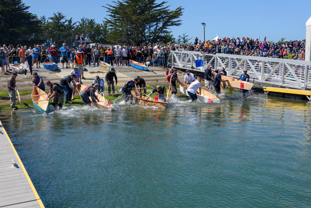 An annual event at the Bodega Bay Fisherman's Festival is the timed boat building race.