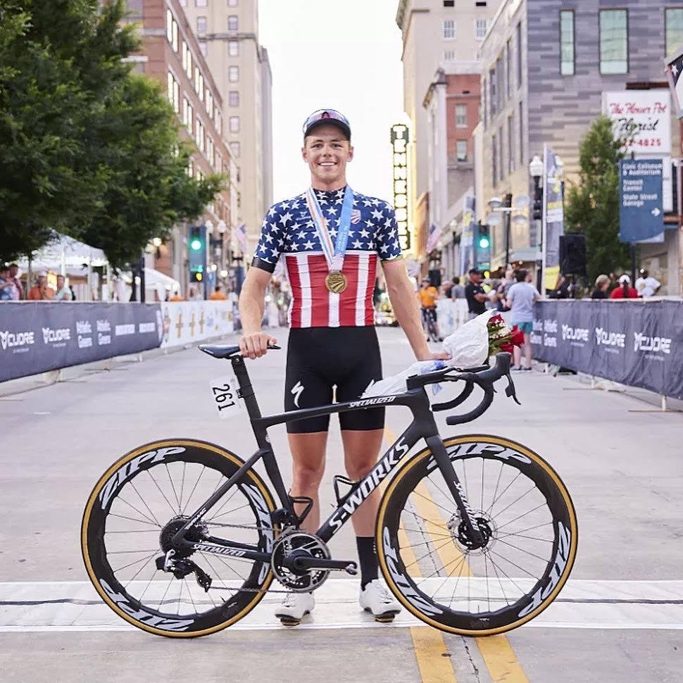 Luke Lamperti and his Specialized S-Works bike after his upset victory in the men's criterium at USA Cycling's national championships in Knoxville, Tenn., June 18, 2021. (Tommy Zsak)