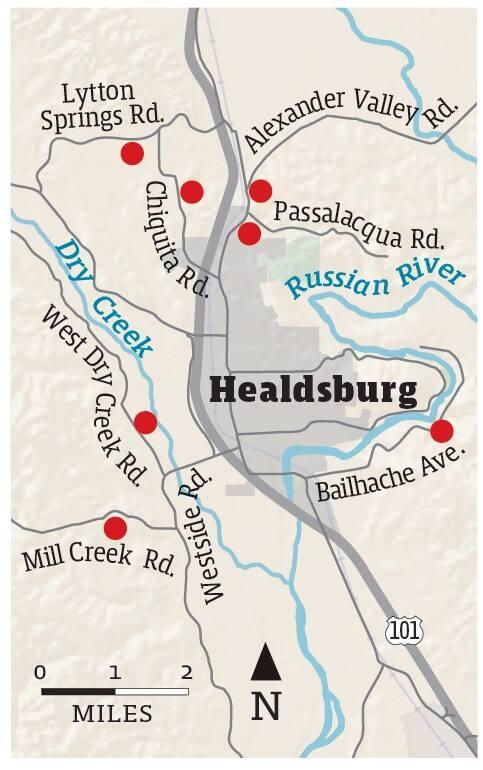 Map showing the confirmed vegetation fires in the Healdsburg area, Sept. 6, 2021. (Dennis Bolt for the Press Democrat)