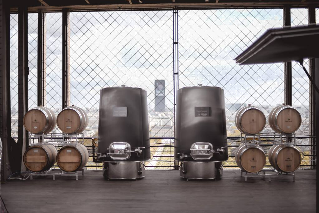 A pop-up winery hosted by Winerie Parisienne is at the Eiffel Tower until March, or possibly June, and may be a sign of more pop-ups to come. (Demptos Napa cooperage)