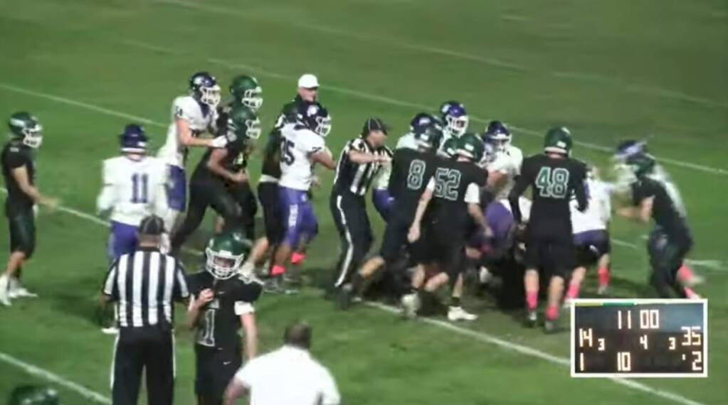 Players from Sonoma Valley High and Petaluma High engaged in a fight during the fourth quarter of their game last Friday, and officials halted the rest of the game. (SVTV/YouTube)