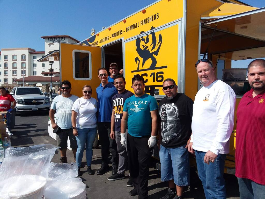 Members of the Northern California International Painters Union, District 16, provided lunch for evacuees staying at the Oxford Suites on Wednesday, Oct. 12, 2017. (Cynthia Sweeney)