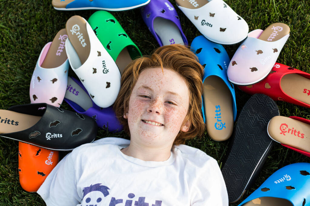Carter Waugh, 11, has developed 204 options of his Critts shoe line. Photo by Sarah Risk.