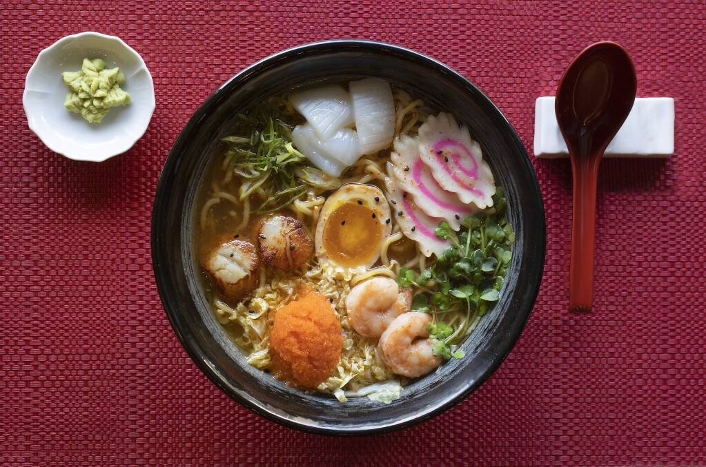 Seafood Ramen with a medley of scallops, shrimp and squid in a shiso ponzu broth from Taste of Tea in Healdsburg. (photo by John Burgess/The Press Democrat)