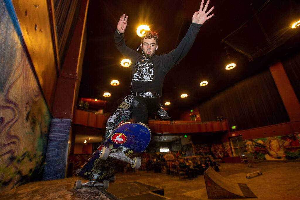 Noah Cordova has been coming to skateboard the ramps at the Phoenix Theater in downtown Petaluma for the past three years. The music venue and haven for young teens needs to raise $250,000 for fire sprinklers by April and also needs a costly new roof. (JOHN BURGESS/ PD FILE, 2018)
