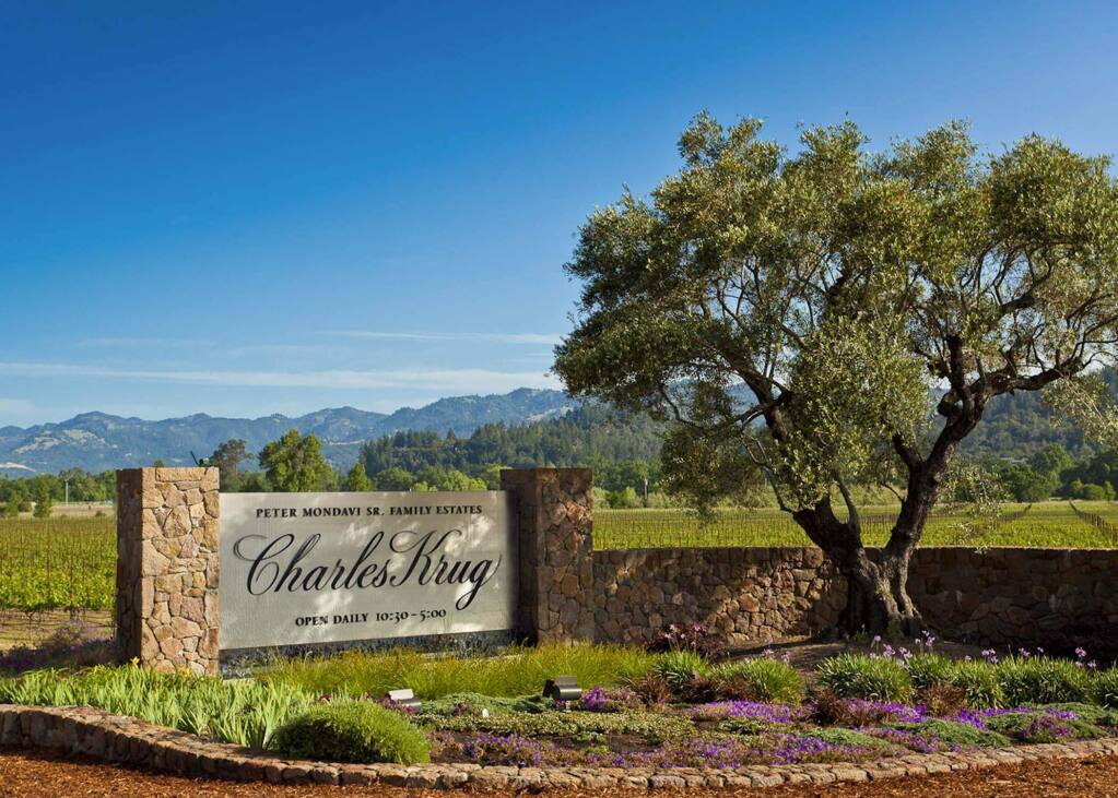 Entrance to Charles Krug winery at 2800 Main St. in St. Helena on May 6, 2011 (C.MONDAVI & FAMILY)