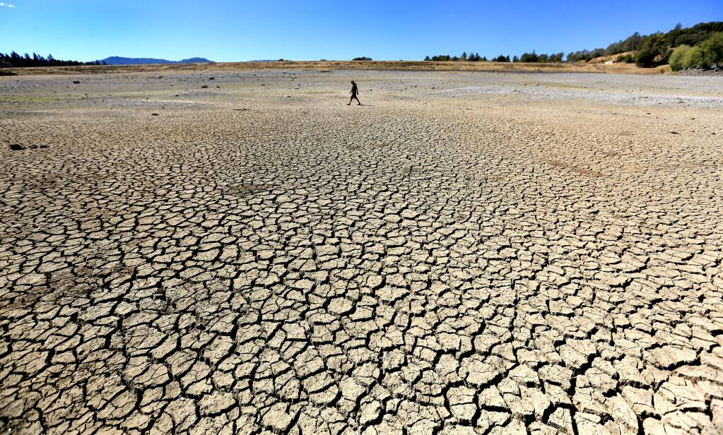 Ukiah resident Billy Edwards walks the parched lakebed of Lake Mendocino in Ukiah on Tuesday, Sept. 14, 2014. (KENT PORTER/ PD)