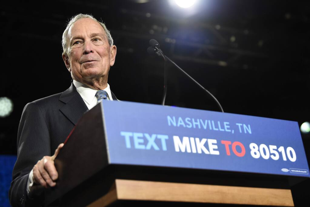 Democratic presidential candidate Michael Bloomberg speaks at his early vote rally at Rocketown in Nashville, Tenn., Wednesday, Feb. 12, 2020. (George Walker IV/The Tennessean via AP)