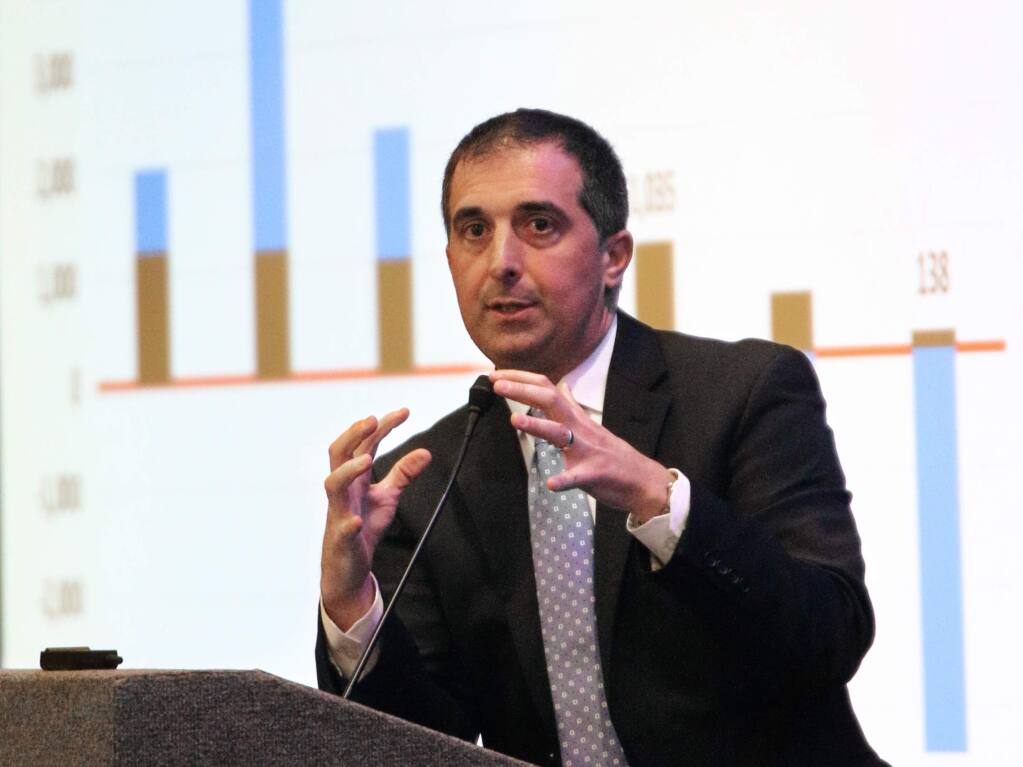 Sonoma State University economist Robert Eyler explains how the estimated decline in the populations of Sonoma and Napa counties from low birth rates and outward migration is troubling, speaking at North Bay Business Journal co-presented SSU Economic Outlook Conference at the Hyatt Regency Sonoma Wine Country hotel in Santa Rosa on Tuesday, Feb. 19, 2019. (JEFF QUACKENBUSH / NORTH BAY BUSINESS JOURNAL)