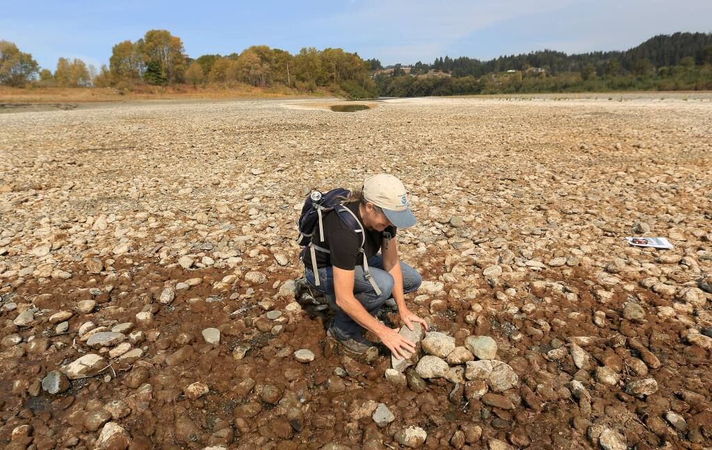 PHOTO: 1 by KENT PORTER / The Press DemocratMargaret Tauzer, a hydrologist with the National Oceanic and Atmospheric Administration, uses rocks to mark where water from the Eel River still stands on Thursday in Fortuna. In less than 30 minutes, the water had receded nearly seven feet.
