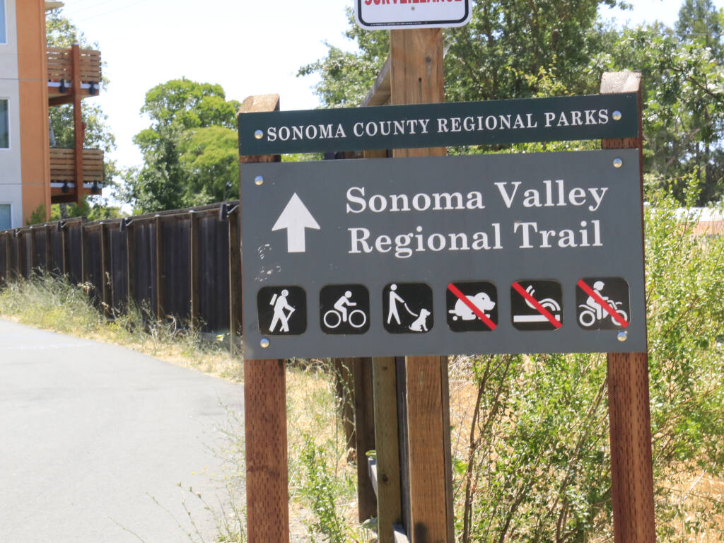 Sonoma County's Central Valley trial is a Class I bike path in the Springs neighborhoods that passes by a new affordable-housing complex. May 30, 2021.  (Christian Kallen/Sonoma Index-Tribune)