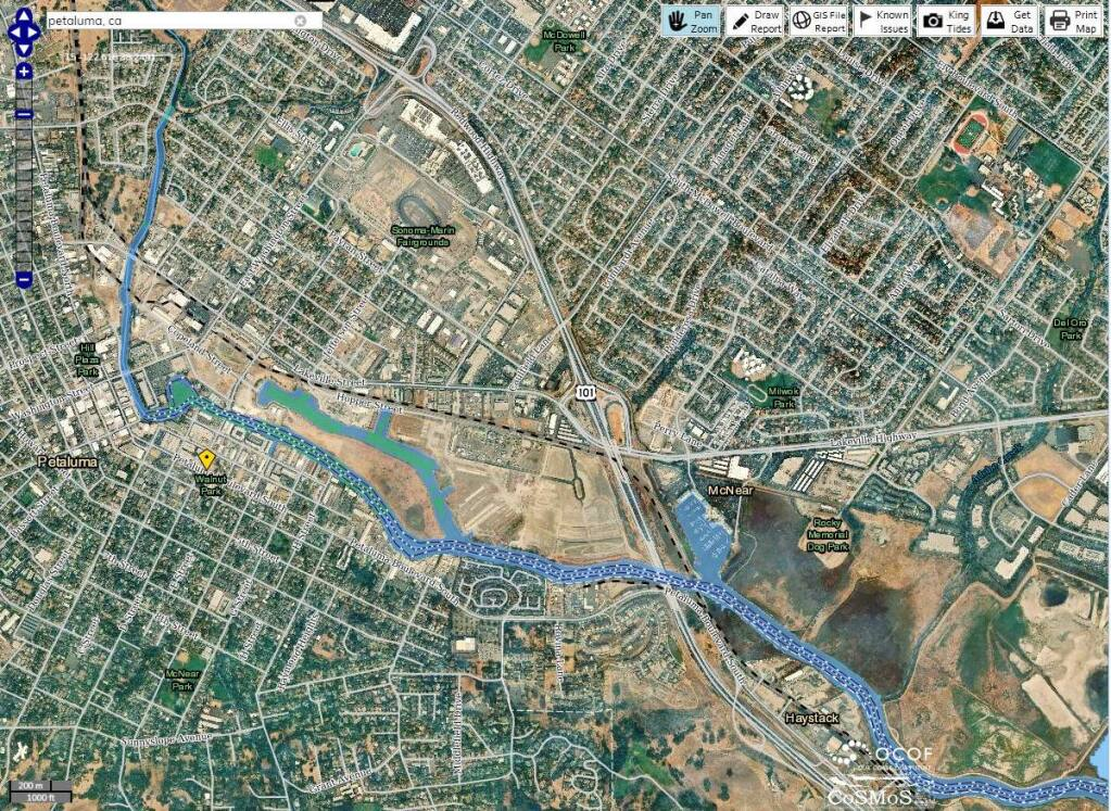 A screen capture from Point Blue's Our Coast Our Future interactive map shows the potential flood hazards near the Petaluma River if a 100-year storm occured after 50 centimeters of sea level rise.