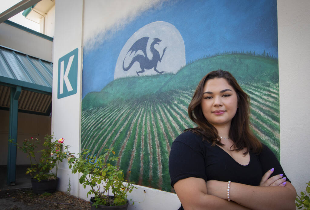 Eden Scheiblich painted this mural on the side of K building on the Sonoma Valley High School's campus as her senior project.