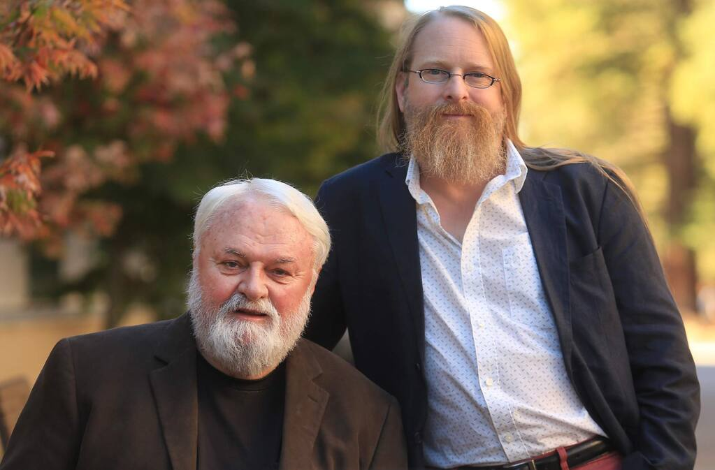 Project Censored's former longtime director Peter Phillips, left, and current director Mickey Huff, at Sonoma State University in Rohnert Park on Thursday, Oct. 20, 2016. (KENT PORTER/ PD)