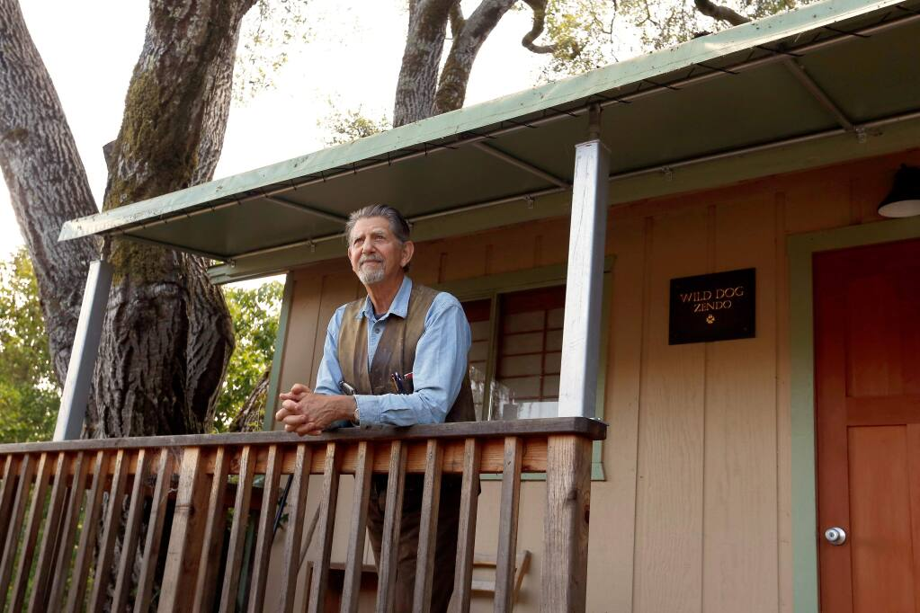 Actor Peter Coyote stands outside his Zen meditation room at his home in Sebastopol on Wednesday, May 30, 2018. (Alvin Jornada/The Press Democrat, 2018)