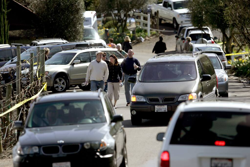 Traffic comes to a near standstill during a 2008 barrel tasting event in the Russian River area. Sonoma County is revising winery event regulations to minimize impact in areas of overconcentration, including the Sonoma Valley. (Kent Porter / The Press Democrat)