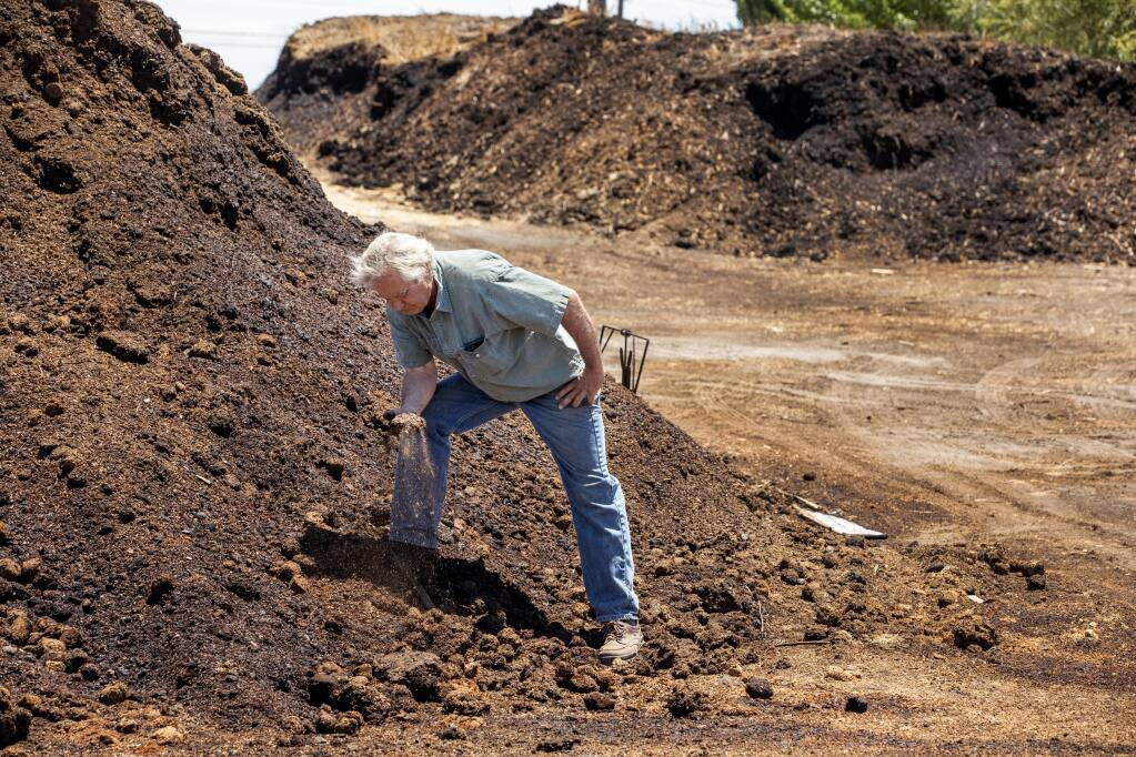 Bob Cannard, owner of Green String Farm in Petaluma, makes tons of his own compost for use on the farm. (John Burgess / The Press Democrat)