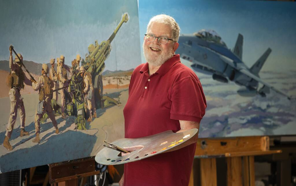 Rincon Valley artist John Deckert has 35 military paintings in the permanent collection of the National Museum of the Marine Corps in Quantico, Virginia. Two large pieces, an M777 155mm howitzer, left, and an F-18, were scheduled to be included in a show canceled by the pandemic.  (photo by John Burgess/The Press Democrat).