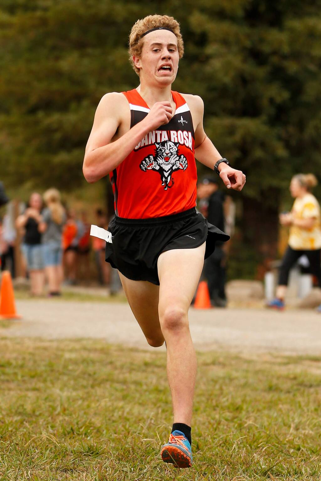 Santa Rosa's Andrew McKamey wins first place with a time of 15:32.6 during a North Bay League-Oak Division cross country meet, at Spring Lake Park in Santa Rosa, California, on Wednesday, October 16, 2019. (Alvin Jornada / The Press Democrat)