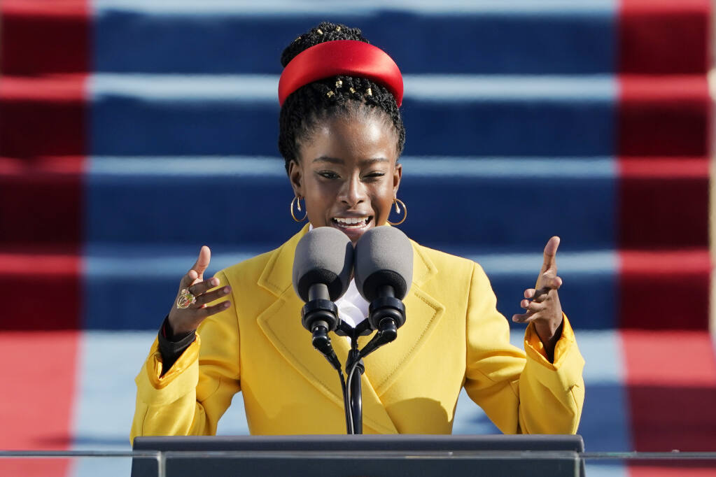 American poet Amanda Gorman reads a poem during the 59th Presidential Inauguration at the U.S. Capitol in Washington, Wednesday, Jan. 20, 2021. (Patrick Semansky / Associated Press)