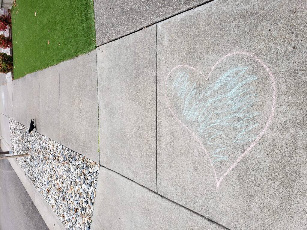 Midst-of-pandemic sidewalk art in Santa Rosa's Rincon Valley. (Dave Pinsky)