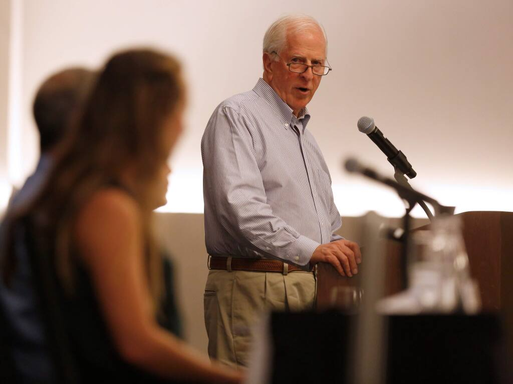 Congressman Mike Thompson introduces local climate change experts and advocates who will speak about local and federal work to combat global warming along with Congressman Thompson during a climate change town hall meeting at Sonoma State University, in Rohnert Park, California, on Tuesday, August 27, 2019. (Alvin Jornada / The Press Democrat)