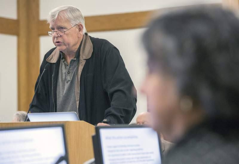 Sonoma resident Bill Jasper speaks to a City of Sonoma meeting; he and co-plaintiffs are filing suit against the city over their denial of three large private homes on Schocken Hill.