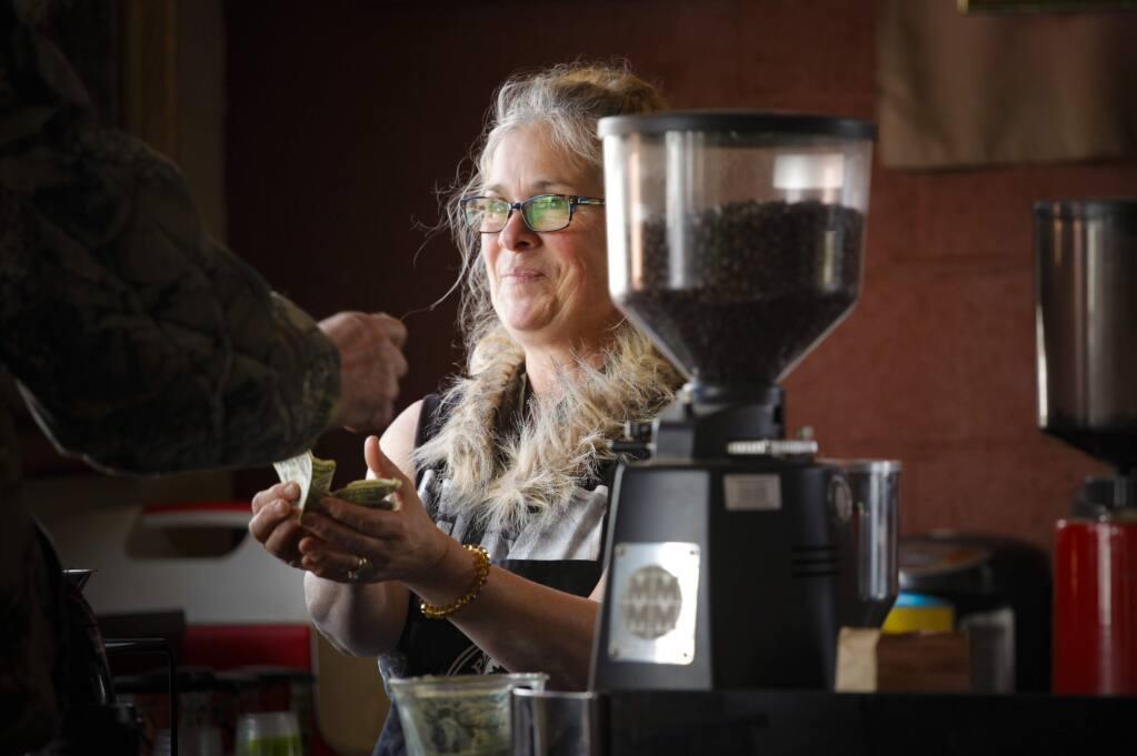 Barista Star Downey takes a customer's order at Petaluma Coffee & Tea.(CRISSY PASCUAL/ARGUS-COURIER STAFF)