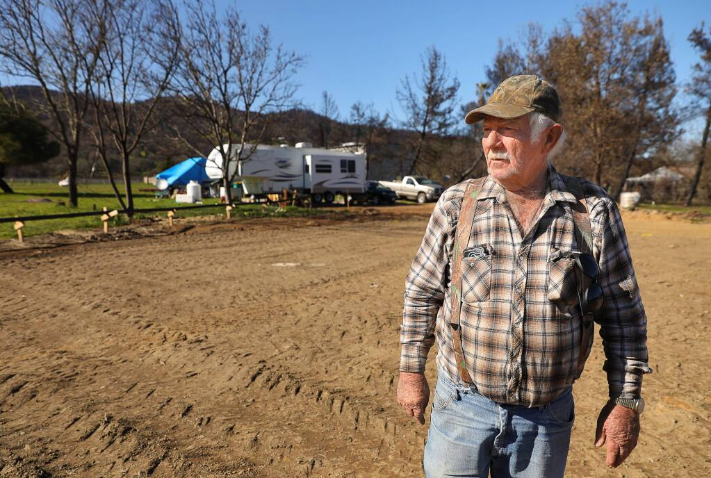 John Holder, whose home along Monterey Road in Redwood Valley was destroyed by the October wildfires, has been frustrated by the cost of building permits.(Christopher Chung/ The Press Democrat)