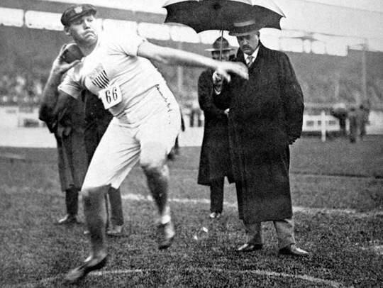 Healdsburg's Ralph Rose in action, on his way to winning his second gold medal in the shot put at the London Olympics in 1908. (Press Association via AP Images)