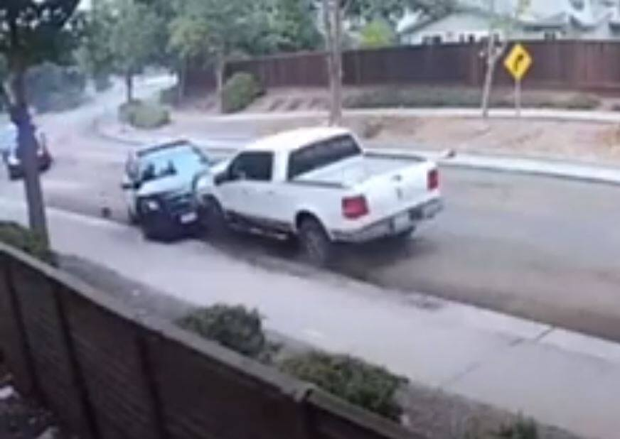 A screen grab from video shows a pickup hitting a Petaluma police car head-on Sept. 10, 2020, in Petaluma. (Video from Kevin Mackay)