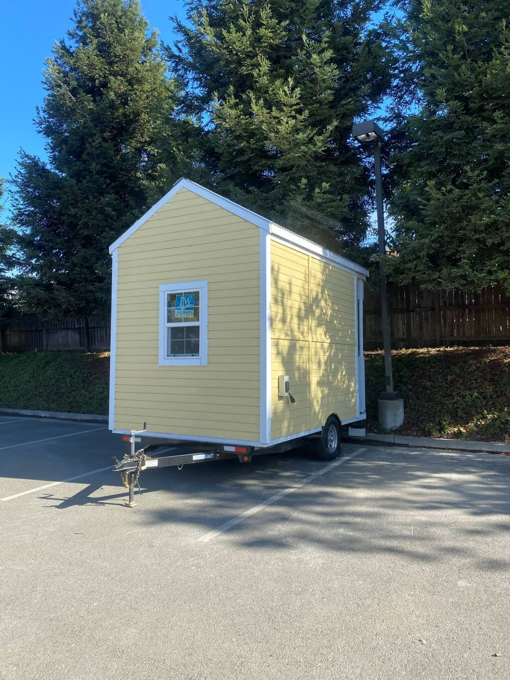 One of four tiny homes built by a cohort of high school students with the North Bay Construction Corps, which was being sold to raise money for future students, was stolen from a west Santa Rosa parking lot Jan. 15, 2021. (Kathy Goodacre)