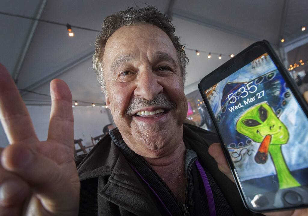 Jim Ledwith, shown here at a UFO symposium at the Sonoma Community Center, has been 'experiencing' aliens since the tender age of 3. (Photo by Robbi Pengelly/Index-Tribune)