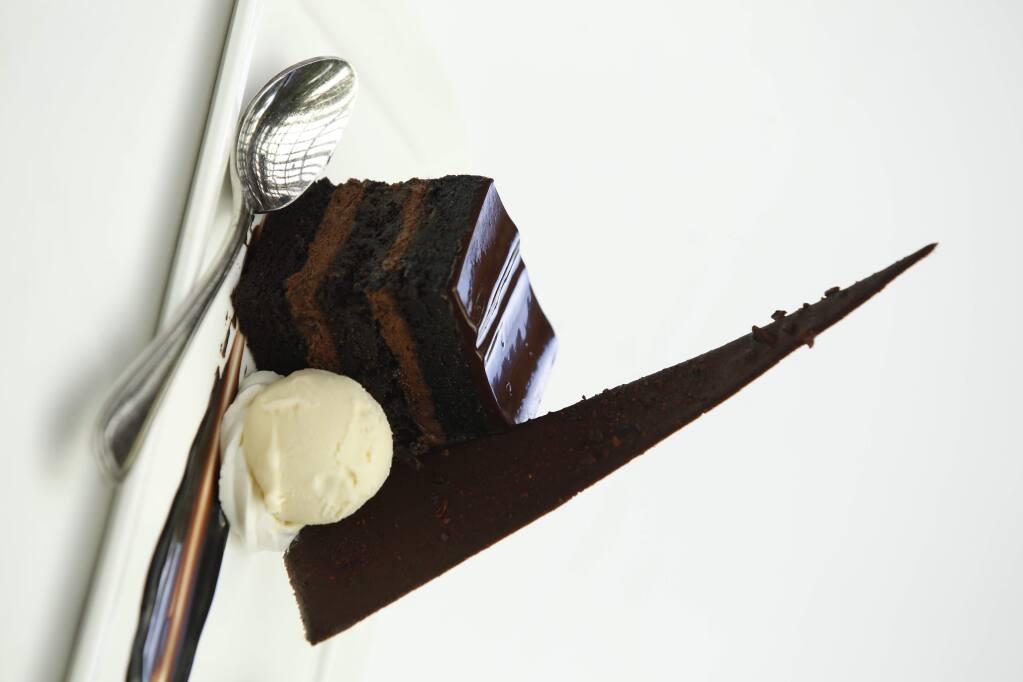 Mom's buttermilk chocolate cake from John Ash & Company. (Beth Schlanker / The Press Democrat)
