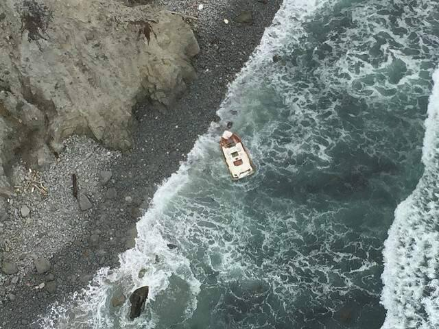 A photo taken from Sonoma County Sheriff's helicopter Henry 1 shows a boat reported missing after it did not return to Bodega Harbor on Friday, April 17, 2015. (FRIENDS OF HENRY 1)