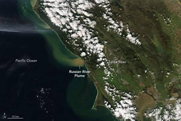 On February 28, the Moderate Resolution Imaging Spectroradiometer (MODIS) on NASA's Aqua satellite acquired a natural-color image of a sediment plume pouring out from the Russian River into the Pacific Ocean. (Photo courtesy   NASA Earth Observatory)