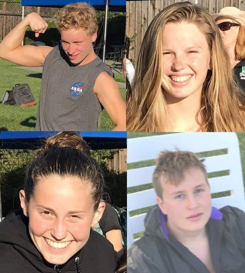 SUMBMITTED PHOTOSThe Petaluma High swim team will miss graduating swim seniors (clockwise from upper left) Cooper Woods, Ana Larson, Gavin Newel and Aurora Beaumond.