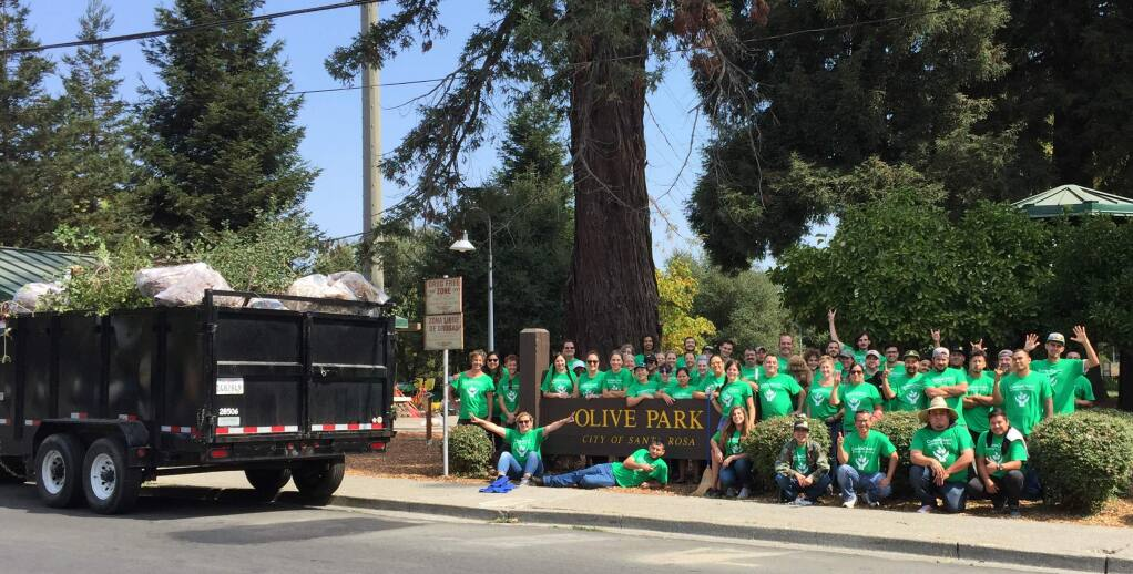 CannaCraft employees and volunteers at Olive Park cleanup in Santa Rosa.