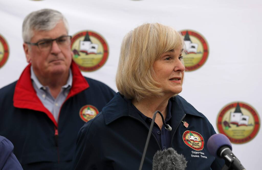 Supervisor Susan Gorin speaks during a press conference about the first community spread case of the coronavirus and the local response. Photo taken outside the Sonoma County administration building in Santa Rosa on Sunday, March 15, 2020. (Beth Schlanker/ The Press Democrat)