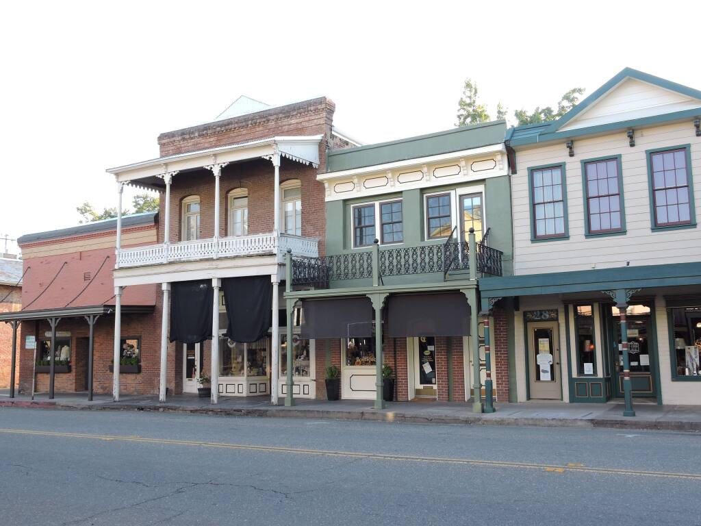 View of historical buildings, now storefronts, on Main Street, Sutter Creek (Pam and Gary Baker)