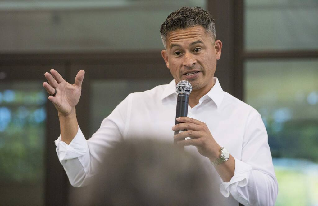 Sonoma Valley High School principal Alberto Solorzano at a meet-and-greet held in the high school's auditorium in 2019. (Photo by Robbi Pengelly/Index-Tribune)
