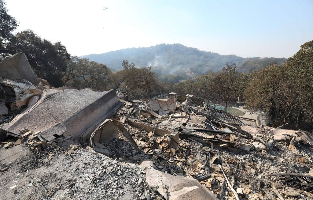 A home destroyed by the Kincade fire in Shiloh Estates, in the hills east of Windsor on Monday, Oct. 28, 2019. (CHRISTOPHER CHUNG/ PD)