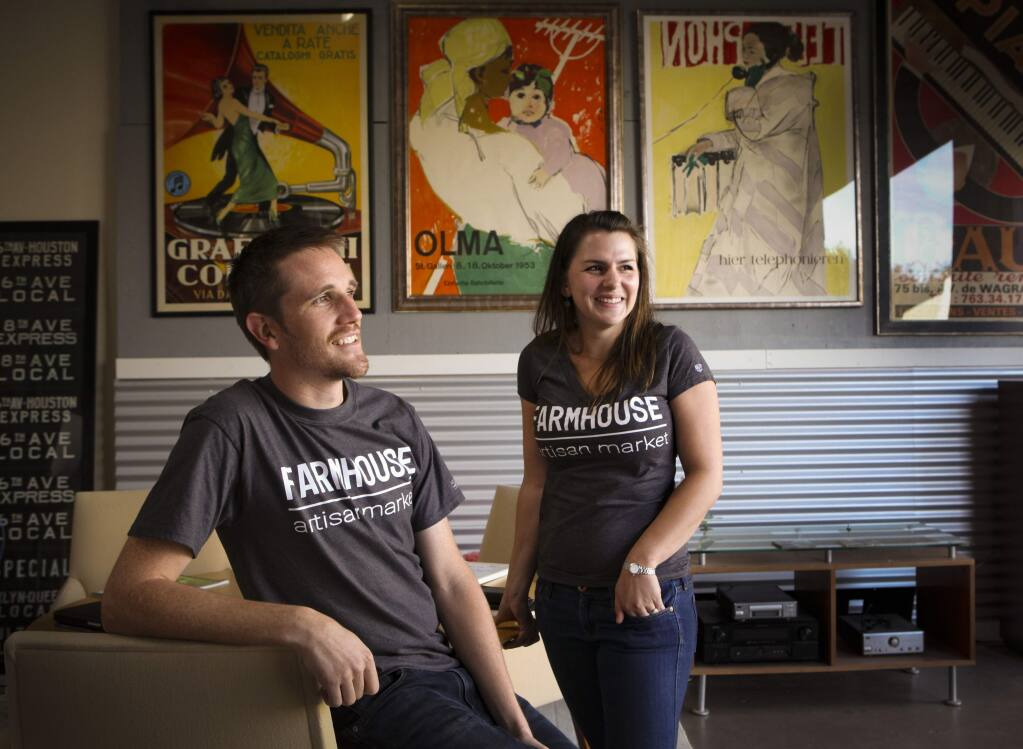 Claire Firestone and James Clark, owners of Farmhouse Artisan Market will be the first cannabis delivery business in Petaluma.(CRISTINA PASCUAL/ARGUS-COURIER STAFF)