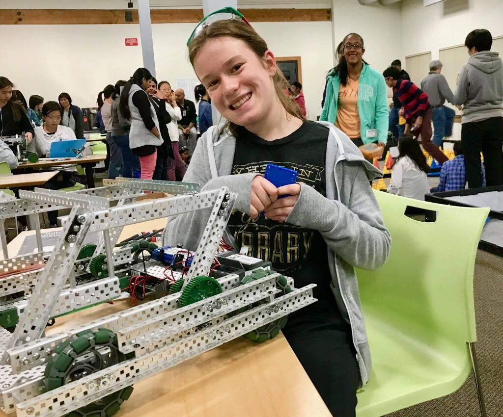 Melina Johnston at a Google robotics competition.