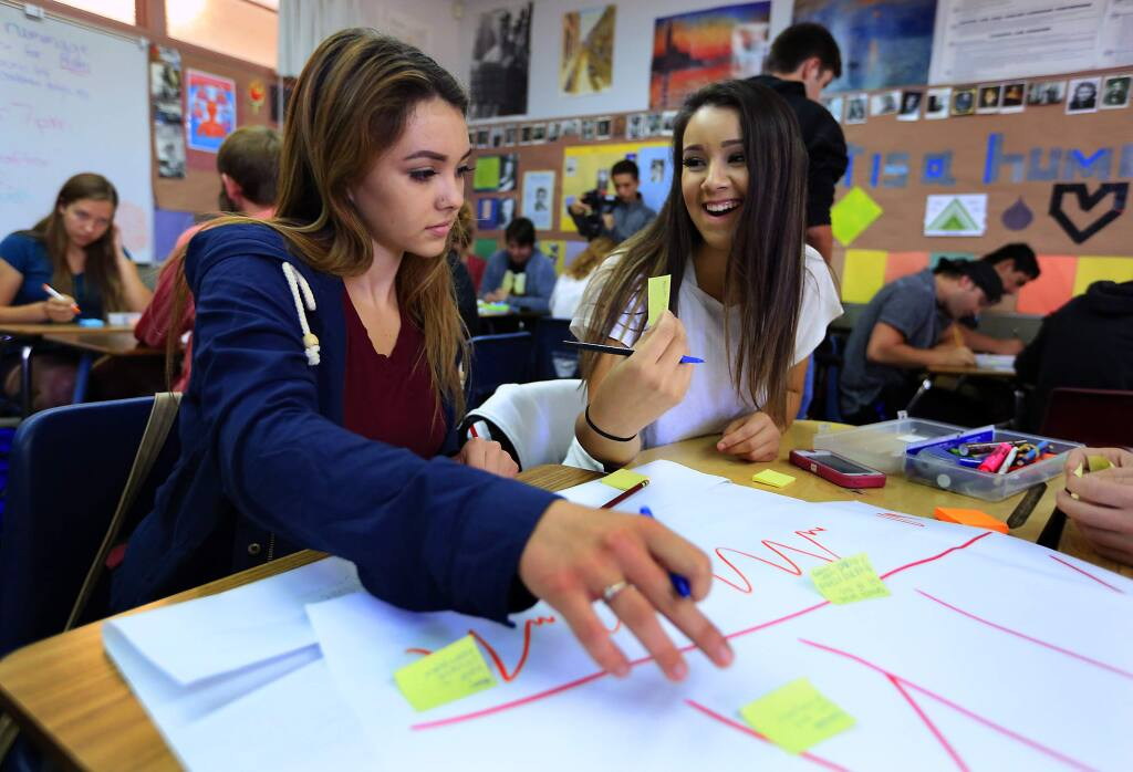 Desenia Hernandez, 17, left, and Vanessa Chavez, 17, brainstorm ideas on post-it notes in a 5-day Designed Thinking Challenge in their Theory of Knowledge class at Montgomery High School. (JOHN BURGESS / The Press Democrat)