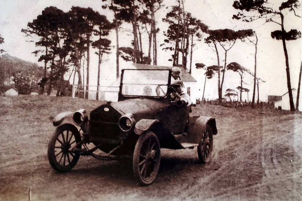 Donald R. Richardson with his first car in Stewarts Point. Donna Robbins of Gualala collected her father's stories of Stewart's Point in the book 'Tractors, Trains and Shipwrecks: Yesteryear Recollections of Sonoma County.'