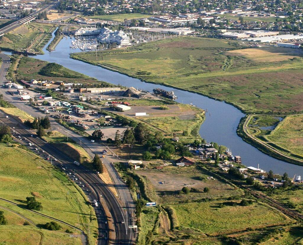 The site of a proposed Dutra asphalt plant along the Petaluma River south of the city. Terry Hankins/Argus-Courier File